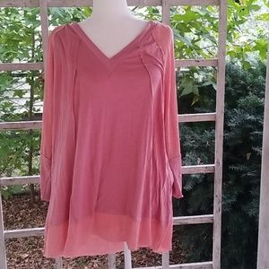 Suzanne Betro Pink long sleve Top Size 2X NWT